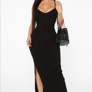 Black Ribbed Maxi Dress